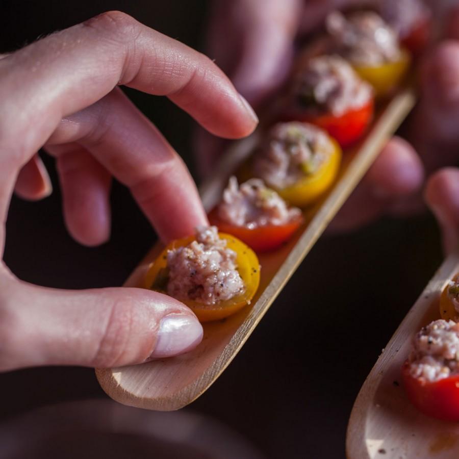 Tomates cerises farcies avec des Rillettes